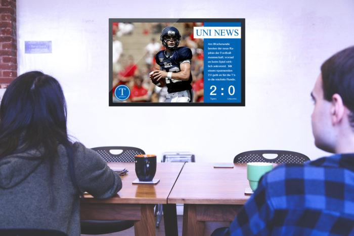 Digitales schwarzes Brett zeigt Campus News