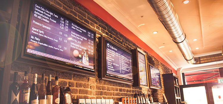 Digital menu boards at Cafetiero