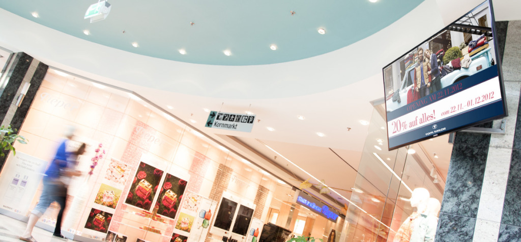 shopping mall with digital signage solution viewneo and samsung smart signage monitor