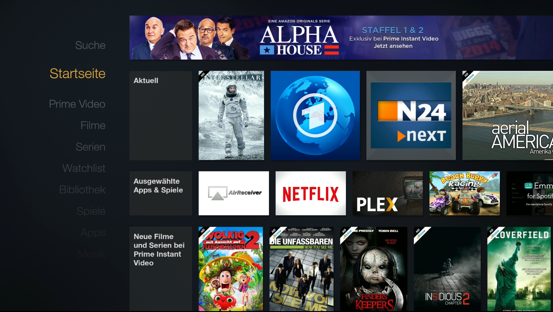 Amazon Fire TV Main Menu