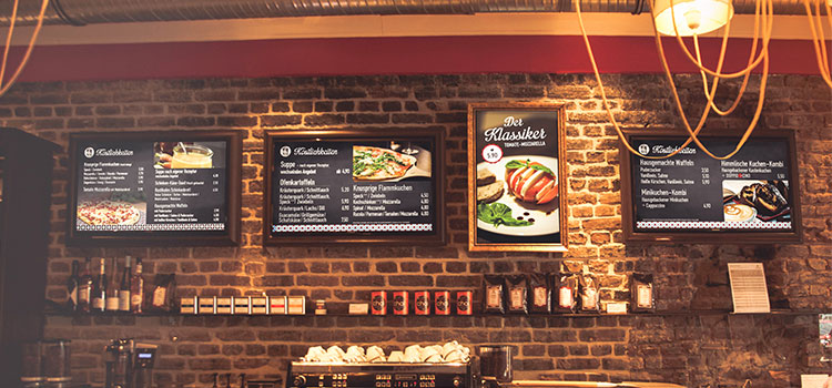 Digital Signage Screens at the restaurant check out counter