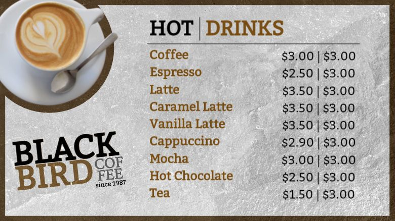 Digital Menu Board Template Hot Drinks
