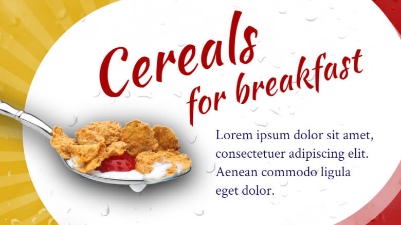 Screenshot of digital signage template for breakfast offers