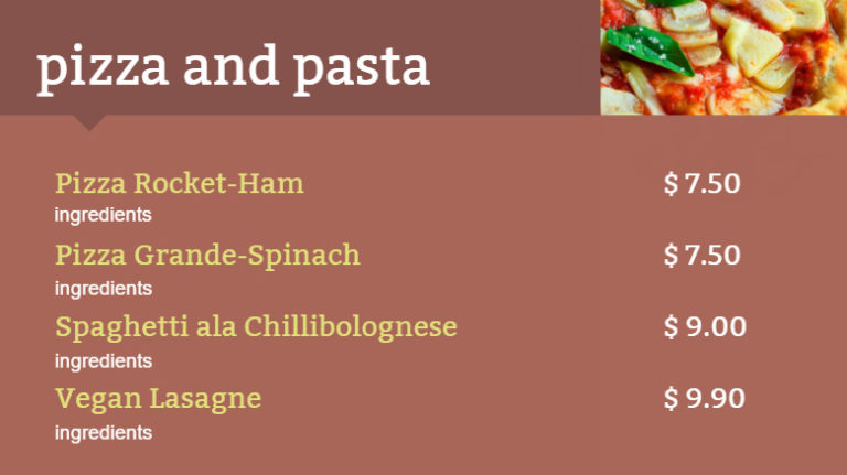 Italian food digital menu board
