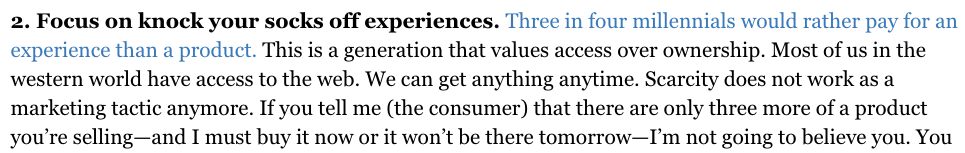 Forbes Quote About Millenials Shopping Behaviour