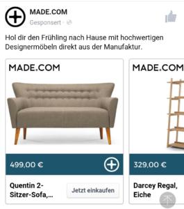 screenshot of retail website
