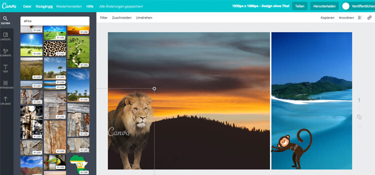 Screenshot of editing Canva Layouts