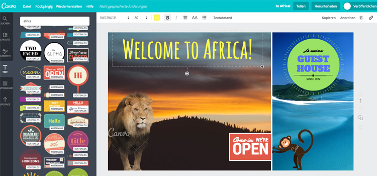 Screenshot Editing Typographie in Canva