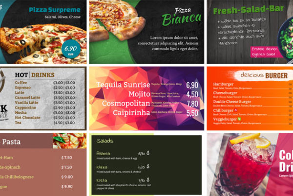 variety of different digital menu boards