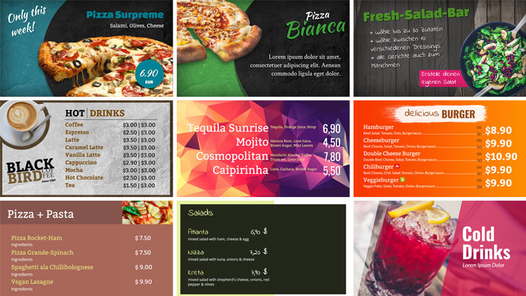 Variety of different digital menu boards.