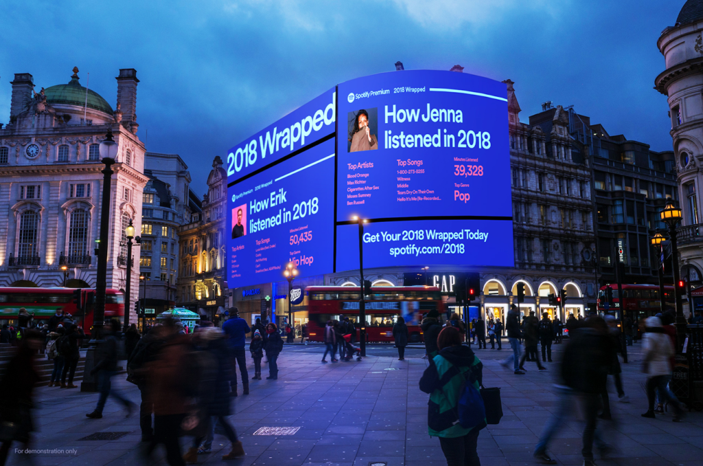 Spotify uses outdoor digital signage to highlight their customer's playlists.