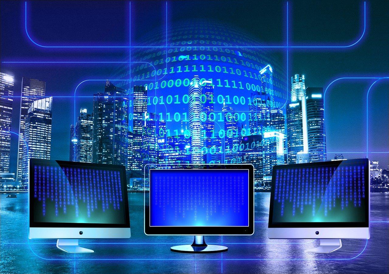 Monitors with data overlaid